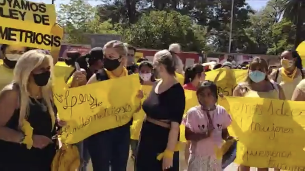Protesta por ley de endometriosis en plaza Independencia