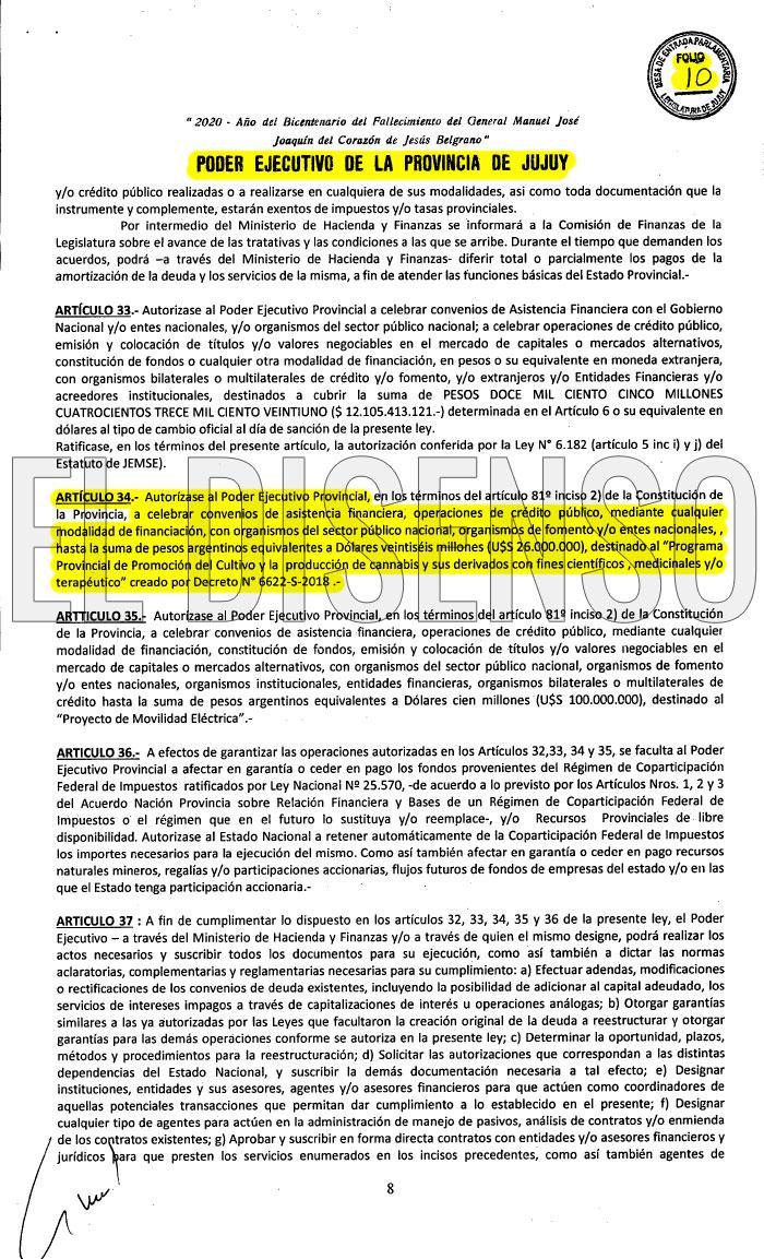 Captura El Disenso Presupuesto 2021 Jujuy Cannabis